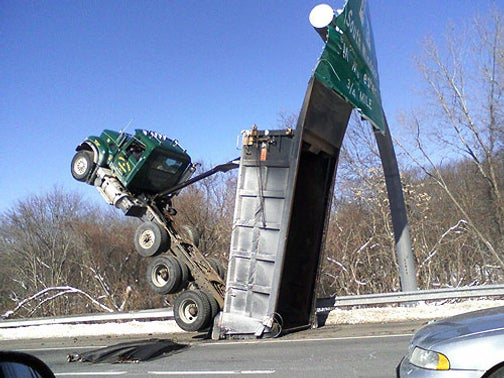 Driver Discovers New Way To Wheelie Dump Truck