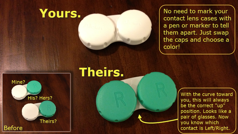 Travel Tip: Swap contact lens case covers to easily tell them apart