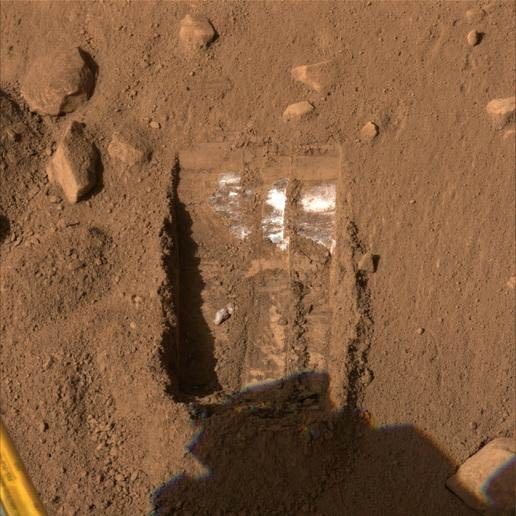 Mystery White Substance, But No Water Yet at Martian Pole