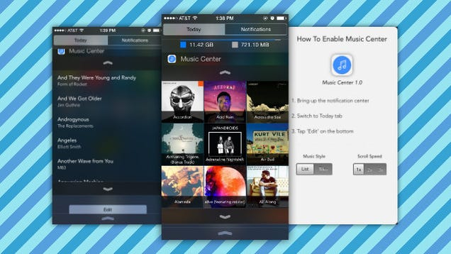 Music Center Adds Your Music Library to Notification Center