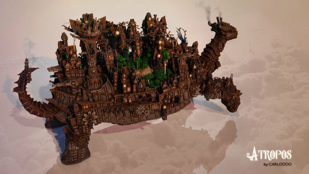 Minecraft steampunk tortoise with an ornate city on its back