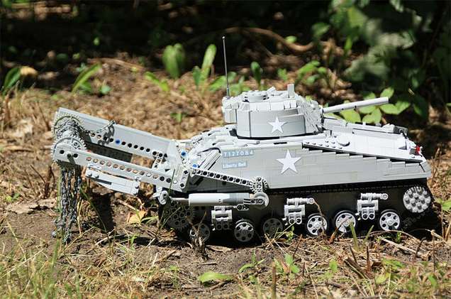 Fully Motorized LEGO Tank Has A Cool Mine Flail