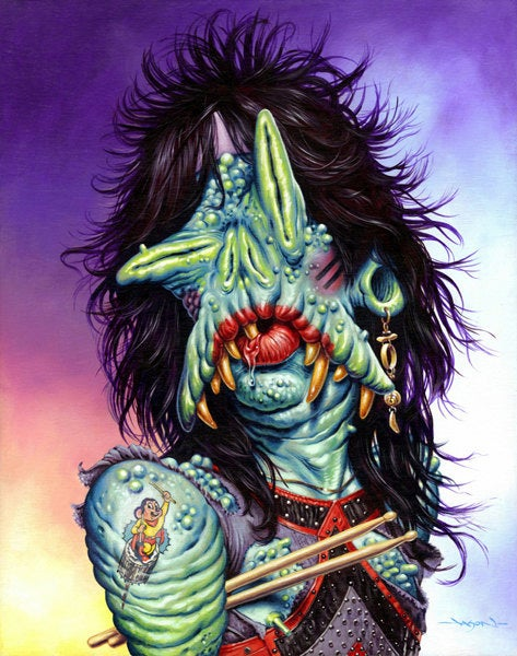 The Monsters of Rock, painted as literal monsters