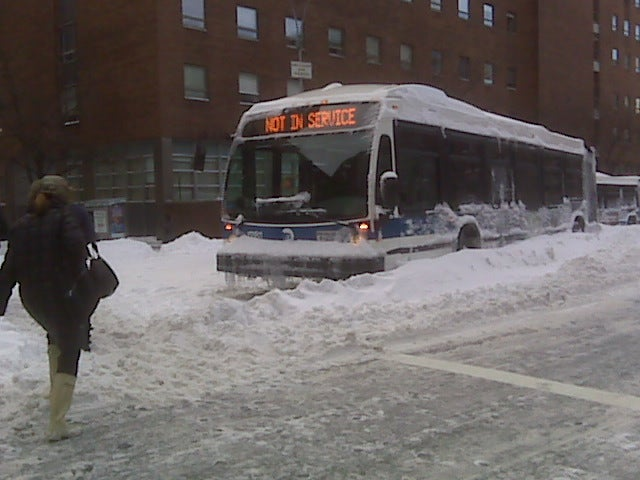 Obvious Snow-Bound New York City Bus Is Obvious