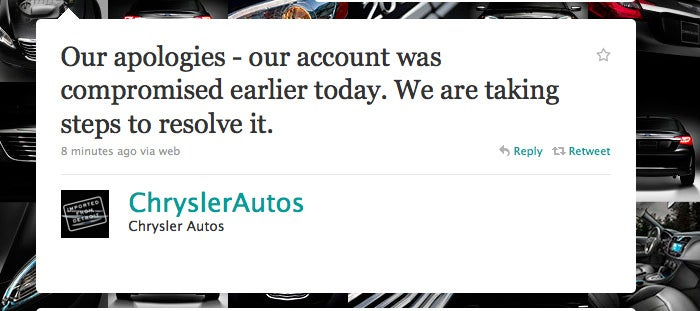 Chrysler loses control of Twitter account, drops F-bomb