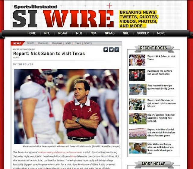 Sports Illustrated Falls For Satire About Nick Saban Visiting Texas