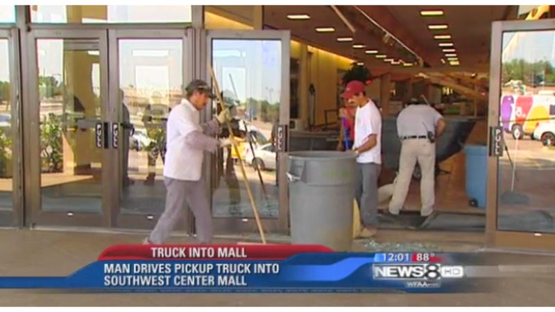Naked Man Crashes Stolen Truck Into Mall, Steals Clothing