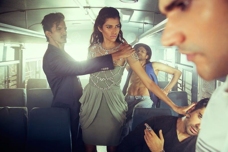 Indian Fashion Shoot Features Woman Being Attacked by Men on a Bus
