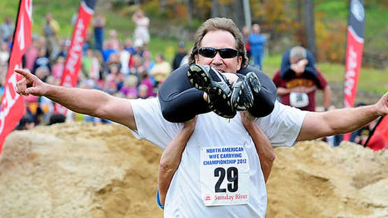 It's Too Late for You to Win the North American Wife Carrying Contest. This Year.