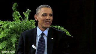 Obama is between two ferns