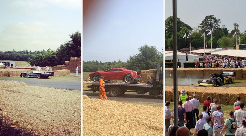 Two Racecars And A Lambo Concept Car Already Crashed At Goodwood