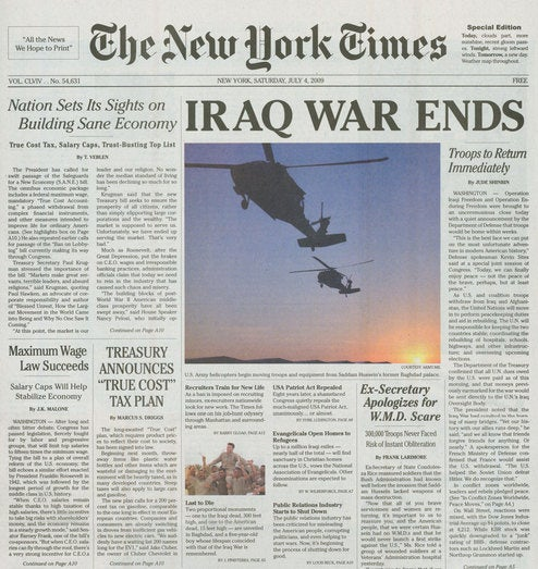 Fake New York Times Declares Iraq War Over! Here's Who Did It