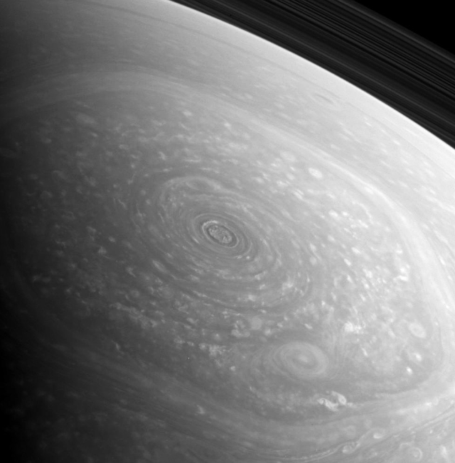 An absolutely incredible raw image of Saturn's swirling north pole