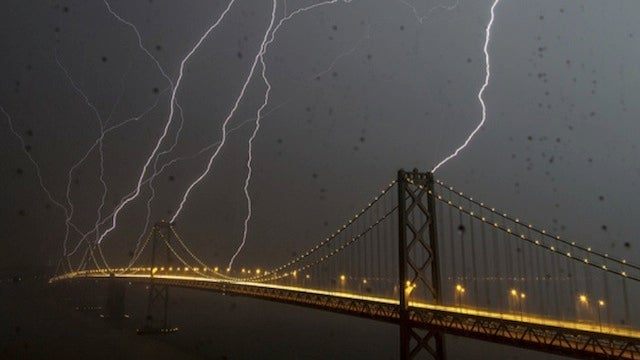 An Unbelievable Picture of Eight Lightning Bolts Striking San Francisco at the Same Time (Updating)