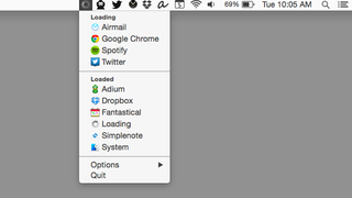 Loading Displays Apps Using Your Network in the Menu Bar