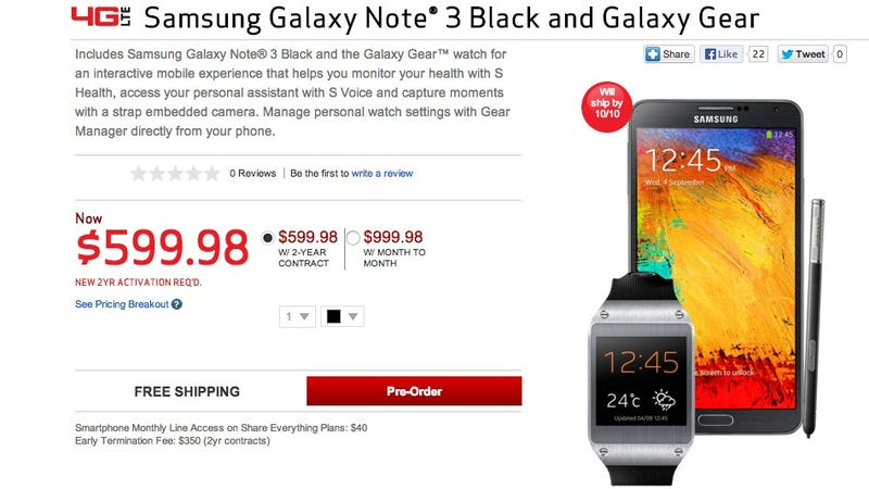 "Verizon's Galaxy Note and Gear ""Bundle"" Saves You Zero Dollars"