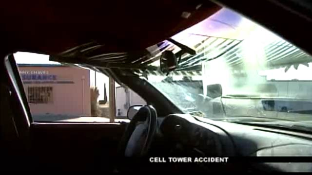 Cell Tower Disguised as Palm Tree Sliced Through a Car's Windshield