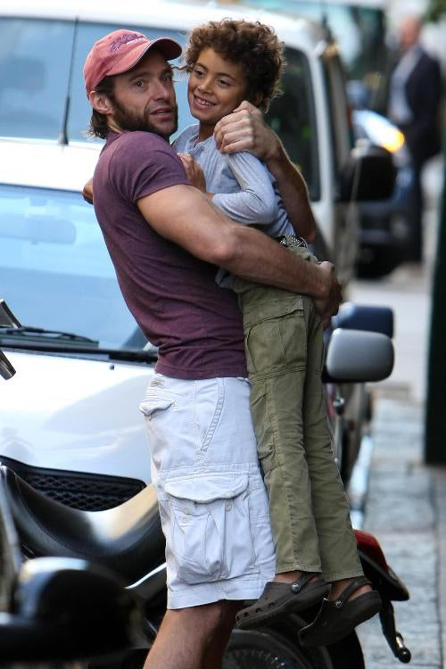 "Hugh Jackman To Son Oscar: ""You're Getting Heavy!"""