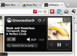 sharkZapper Controls Grooveshark from Chrome's Navigation Bar