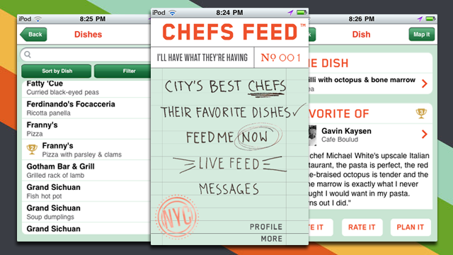 Chefs Feed Puts Famous Chefs' Recommendations for What and Where to Eat on Your iPhone