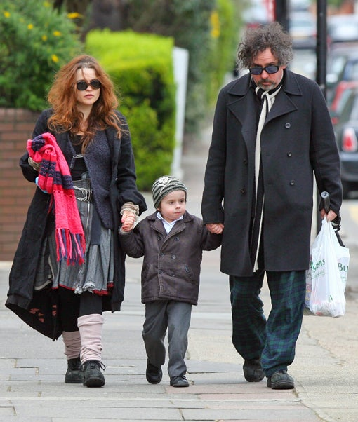 Frumpy Fam: Helena Bonham Carter, Tim Burton & Billy (The Kid)