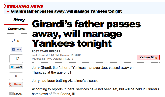 Joe Girardi's Father Died, And The New York Post Seriously Fucked Up Their Headline