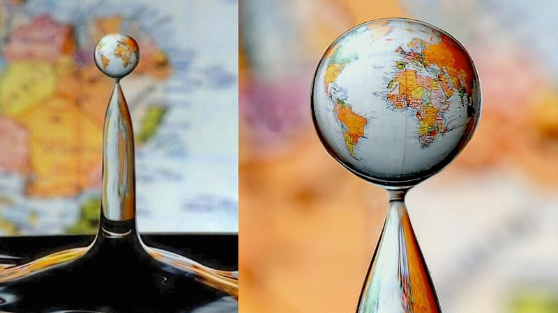 This Mindblowing Photo of a World Map In a Water Drop Is Real