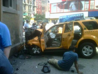 NYC Taxi Crashes Into 72nd Street Subway Station