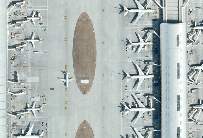Satellite pictures of airports reveal their extreme complexity