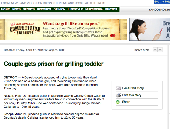 Unfortunate Ad Placement Involves Baby Grilling