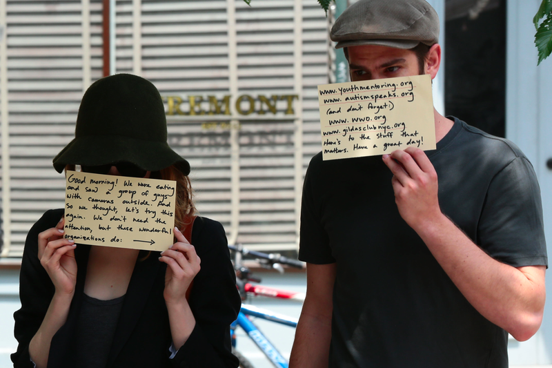 Emma Stone and Andrew Garfield Force Paparazzi to Do Something Nice
