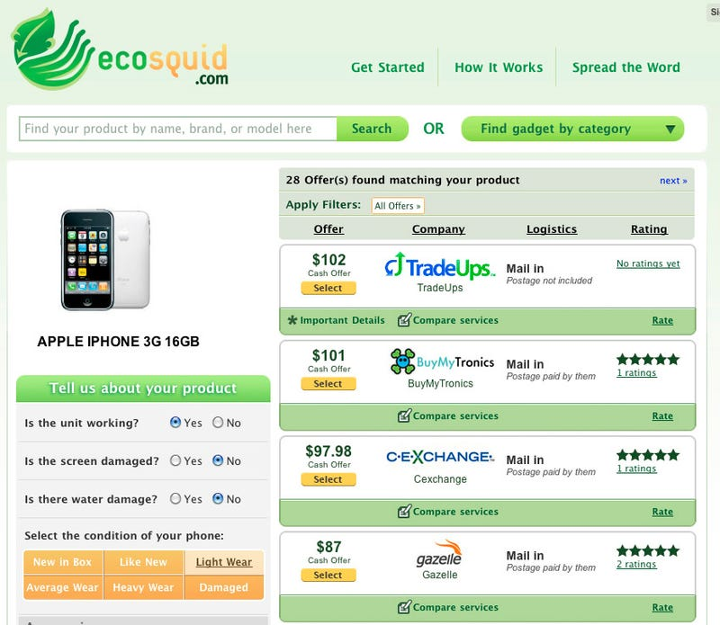 Ecosquid Is Like Expedia For Gadget Selling, Recycling