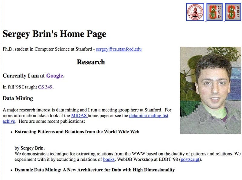 Ten years on, Google cofounders' homepages frozen in time