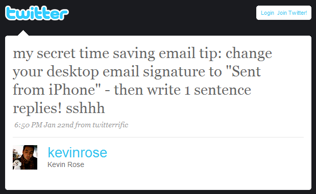 Mobile Signature Makes One-Line Email Socially Acceptable