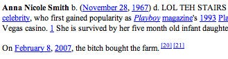 Anna Nicole Smith's Wikipedia Entry Defaced As She Died