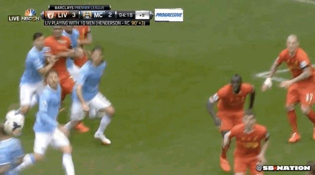 Martin Skrtel Makes Super Legal Defensive Play, Liverpool Beat Man City