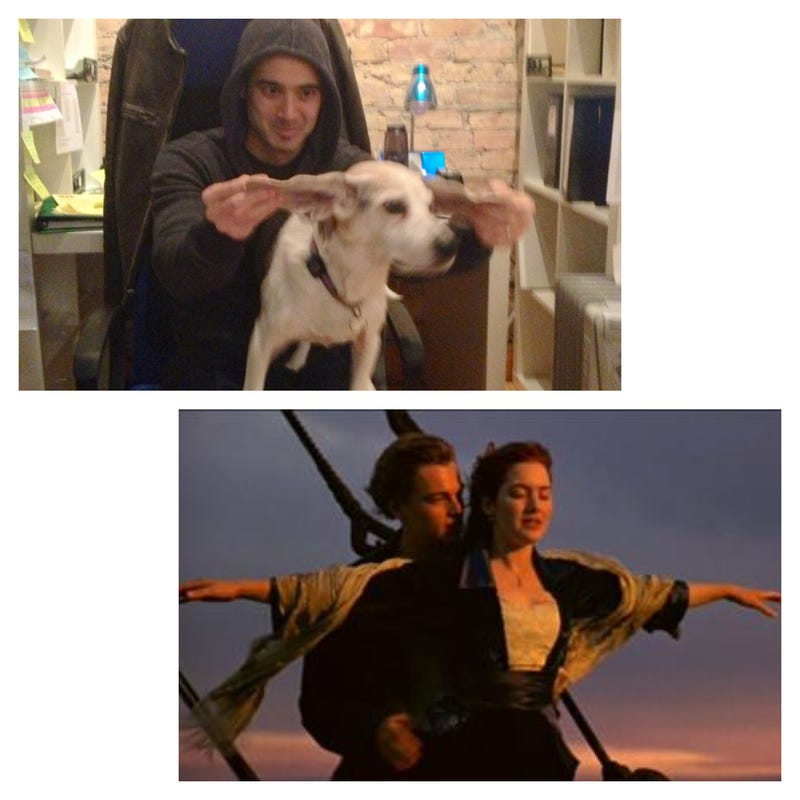 Hilarious guy recreates famous movie scenes with a dog