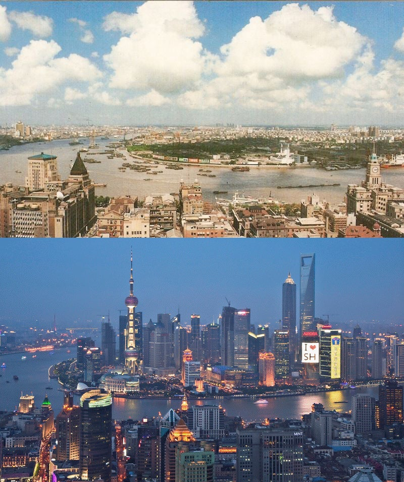 Shanghai Skyline: Before and After