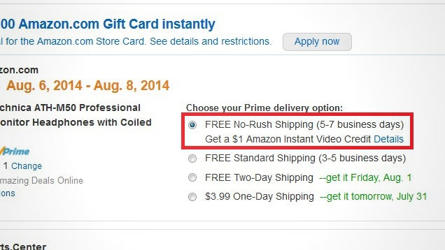 Opt Out of Amazon Prime's Free Two-Day Shipping, Earn $1 Video Credit