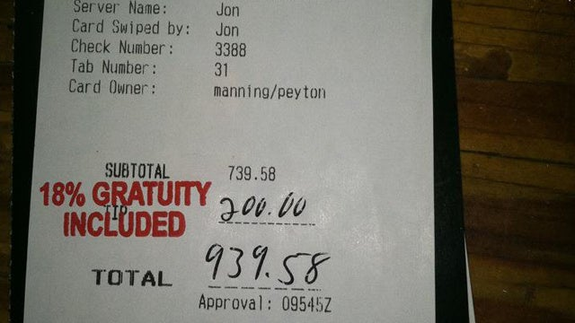 Steakhouse Waiter Fired For Showing The World What A Great Tipper Peyton Manning Is