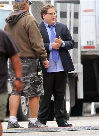 Here's A Picture Of Jonah Hill As Paul De Podesta On The Set Of Moneyball