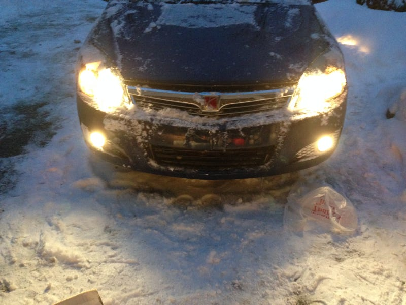 The Snow Giveth, it sure as hell takes away./Crashed my Astra :(