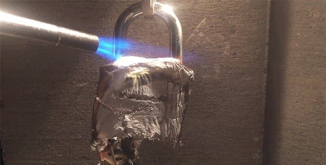 Melting a Lock with a Torch Is a Great Way to Break It Open