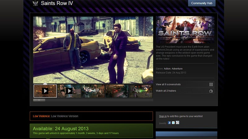 "Steam Offering A ""Low Violence Version"" Of Saints Row IV"