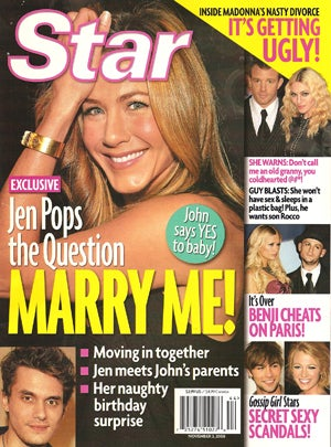 "This Week In Tabloids: Aniston Pops The Question, Madonna's ""Affair"" With A-Rod Was ""Orchestrated"""