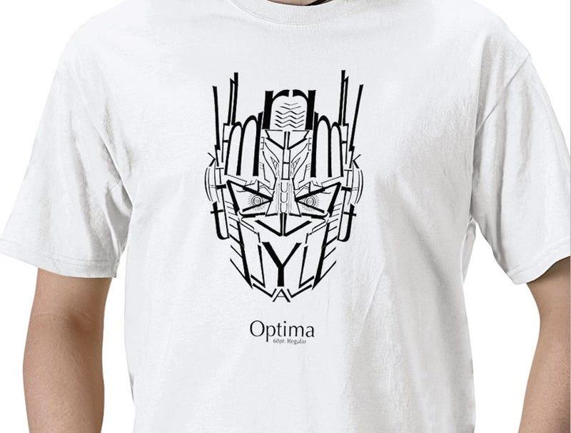 Optima Prime T-Shirt, Font Transformed