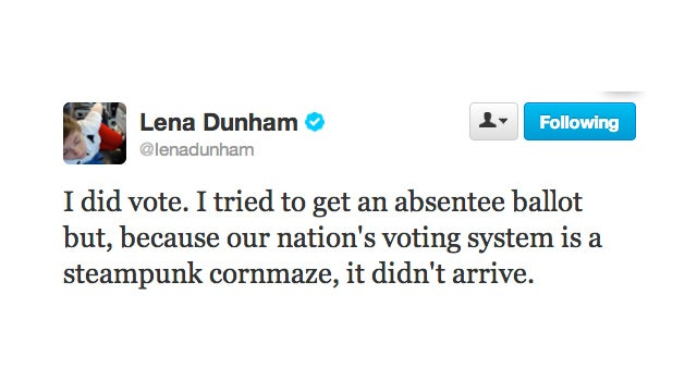 "Lena Dunham Confirms: ""I Did Vote"""