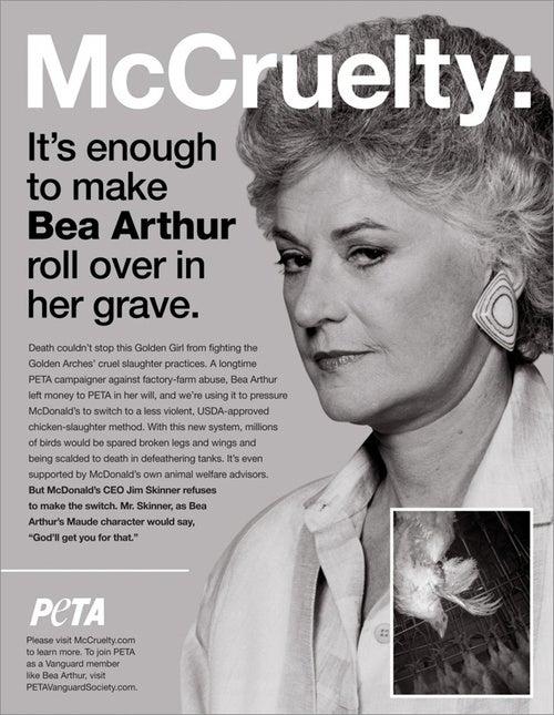 Bea Arthur's Posthumous PETA Ad