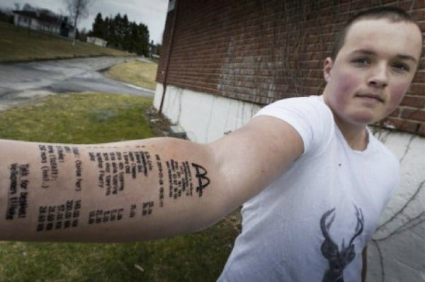 This guy got a, McDonald's receipt, tattoo