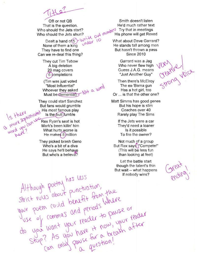 We Had A Seventh-Grade English Teacher Grade Rick Reilly's Poem